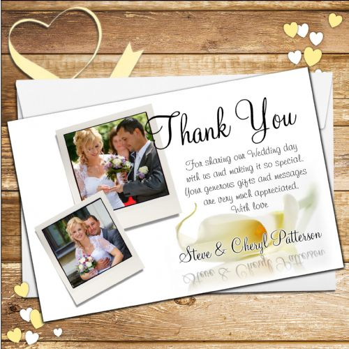 10 Personalised Wedding Day Thank you Photo cards N43